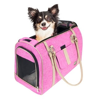 FrontPet Soft Sided Pink Pet Carrier for Small Dogs and Cats Luxury Handbag Dog Purse (Large)