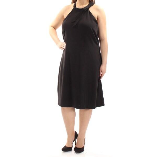 TOMMY HILFIGER Womens Black Sleeveless Jewel Neck Below The Knee Shift Evening Dress Size: 18