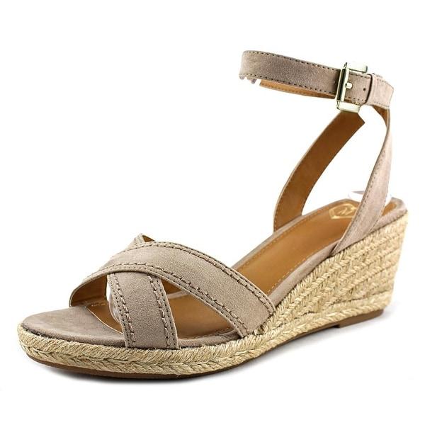Madeline Strum Women Open Toe Canvas Tan Wedge Sandal