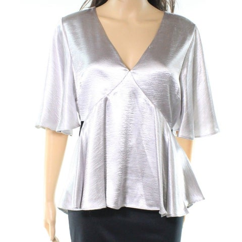 Ro&De Silver Womens Size Medium M Shiny V-Neck Cutout-Side Blouse