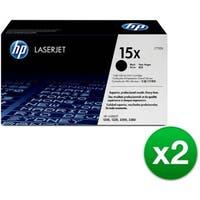 HP 15X High Yield Black Original LaserJet Toner Cartridge (C7115X) (2-Pack)