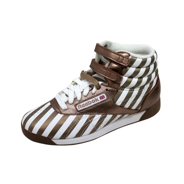 Reebok Women's F/S Hi Stripes/White-Champagne 2-893337 Size 9