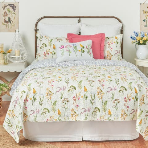 Genevieve Floral Botanical Twin Quilt Set
