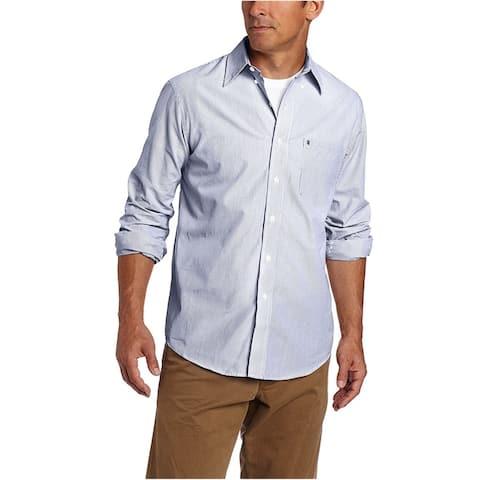 IZOD Mens Striped Essential Button Up Shirt, Blue, Small