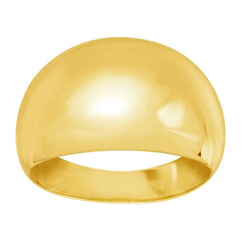 Polished Dome Ring in 18K Gold-Plated Bronze, Made in Italy - Yellow