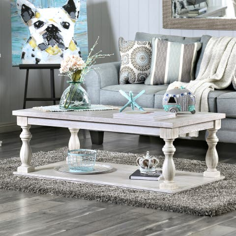 Furniture of America Tost Rustic White 1-shelf Coffee Table