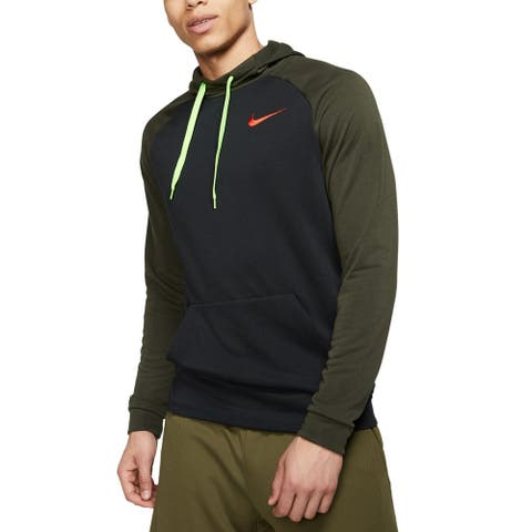 Nike Men's Sweater Green Size Large L Hooded Colorblocked Dri-Fit