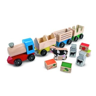 Melissa & Doug 4545 Wooden Farm Train with Engine & Cars Toy Set, Age 3+