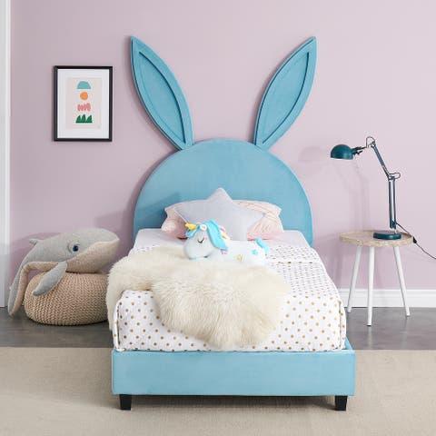 VECELO Wooden Cute Rabbit Twin Platform Bed Frame