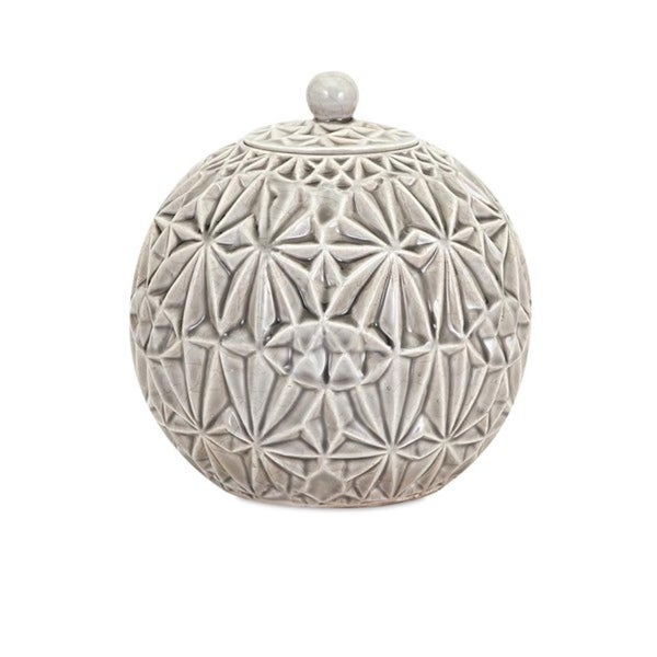 """8"""" Faceted White and Gray Glazed Ceramic Lidded Container - N/A"""