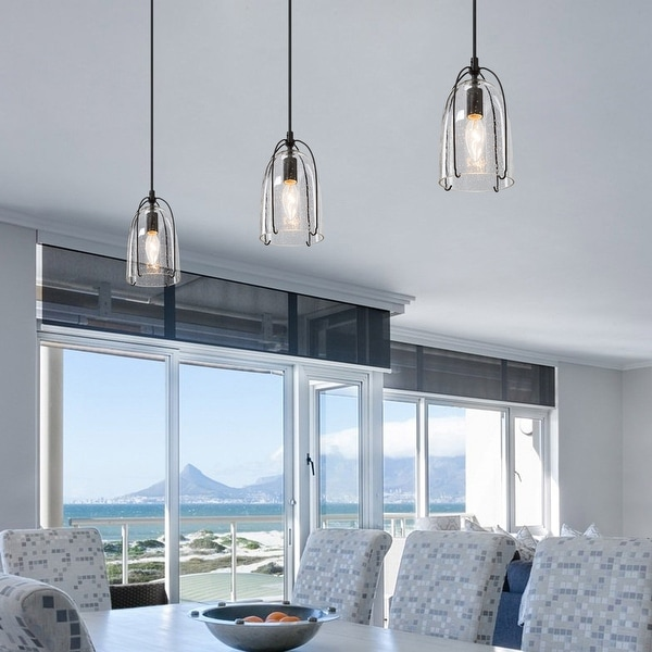 Modern 1-Light Glass Mini Pendant Light With Black Metal frame for Kitchen Island ,Bedroom. Opens flyout.