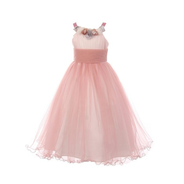 Shop Little Girls Rose Two Tone Accordion Crinkle Tulle Flower Girl Dress - Free  Shipping On Orders Over  45 - Overstock.com - 23090247 618b7d6ea93f
