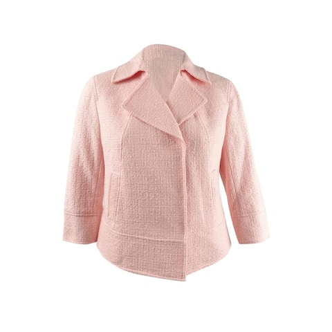 Anne Klein Women's Snap Front Cropped Jacket (16, Cherry Blossom)