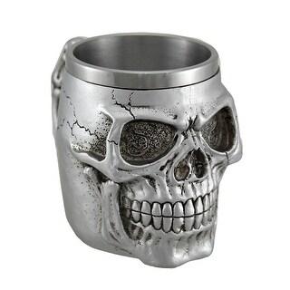 Creepy Metallic Silver Skull Mug W/ Stainless Steel Liner