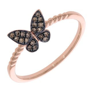 Prism Jewel 0.14Ct Brown Color Round Diamond Butterfly Ring