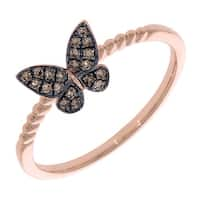 Prism Jewel 0.14Ct Round Natural Brown Color Diamond Butterfly Ring