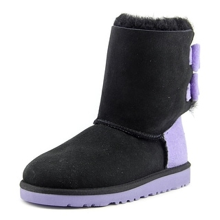 Ugg Australia K Bailey Bow Youth Round Toe Canvas Black Winter Boot