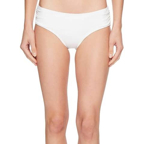 Michael Michael Kors Women's Shirred Bikini Bottoms White, White, Size X-Large
