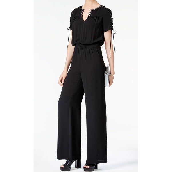 146206d62e2 Shop MICHAEL Michael Kors NEW Black Womens Size Large L Lace-Up Jumpsuit -  Free Shipping Today - Overstock.com - 21474731