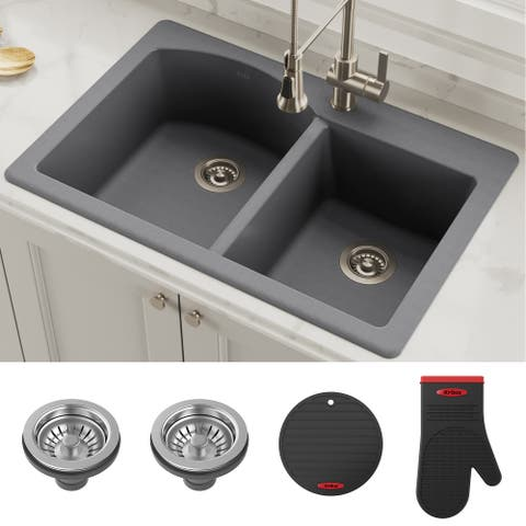 KRAUS Forteza Granite 33 inch 50/50 Undermount Drop-in Kitchen Sink