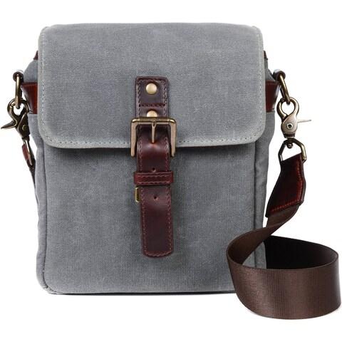 "ONA ""Bond Street"" Classic Canvas Camera Bag, Smoke Gray, with Leather Strap"