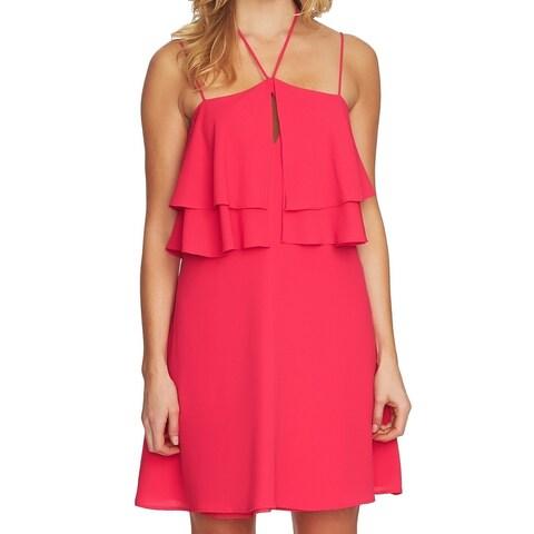 CeCe Pink Women's Size 8 Ruffled Halter Keyhole A-Line Dress