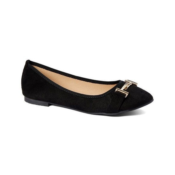 15d164de16e42 Shop Gal Adult Black Metal Buckle Adorned Round Toe Ballerina Flats - Free  Shipping On Orders Over $45 - Overstock - 26521497