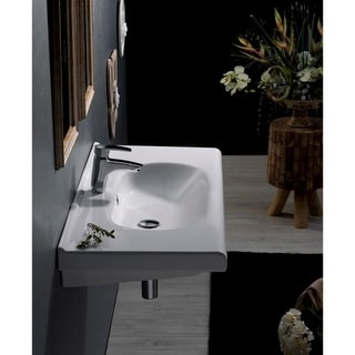 "Nameeks 069000-U City 23-5/8"" Ceramic Wall Mounted/Drop in Bathroom Sink with 1 / 3 Faucet Holes Drilled - Includes Overflow"