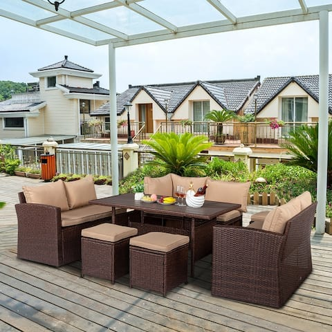 Outdoor Brown Wicker 8-Piece Dining Set with Beige Cushions