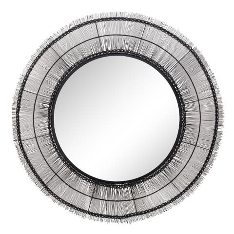 "43"" Round Wire Wall Art W/ Mirror, Black Wb"