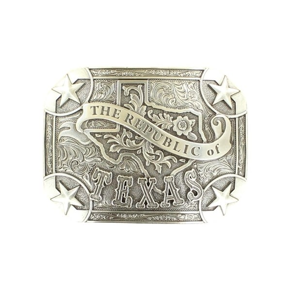 "Nocona Western Belt Buckle Rectangle Texas Stars Scroll Silver - 3 3/4"" x 2 11/16"""