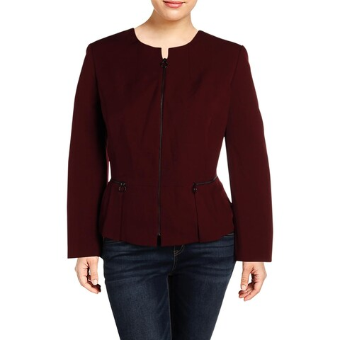 Tahari ASL Womens Plus Collarless Blazer Peplum Office