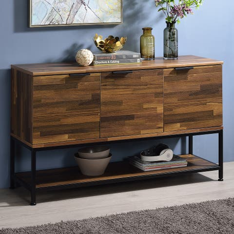 Furniture of America Shimes Rustic Walnut Open-shelf Console Table