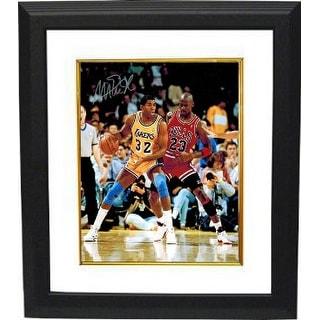 Magic Johnson signed Los Angeles Lakers 16x20 Photo Custom Framed (yellow jersey post up vertical vs Michael Jordan) -PSA Holo