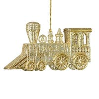 """Club Pack of 12 Gold Glitter Drenched Train Engine Christmas Ornaments 4.75"""""""