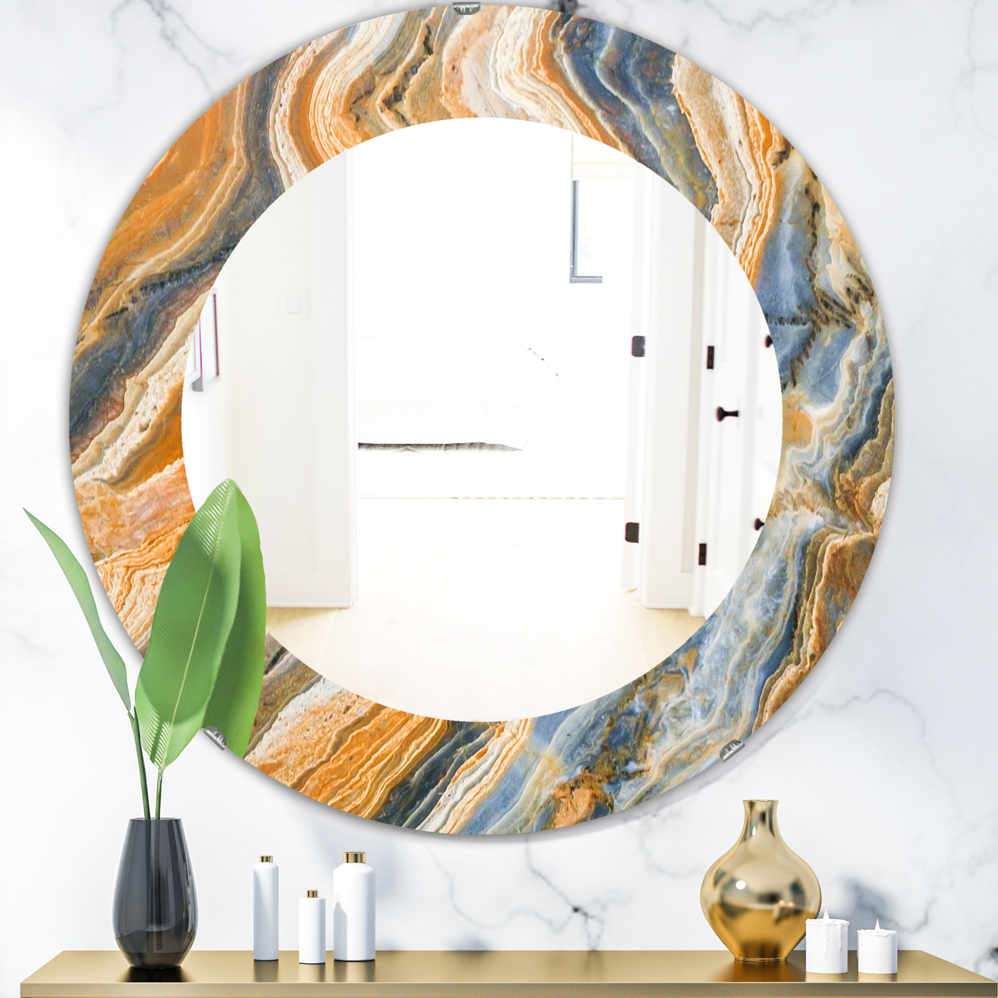 Porch Den Marbled Geode 4 Traditional Mirror Orange Overstock 28558685