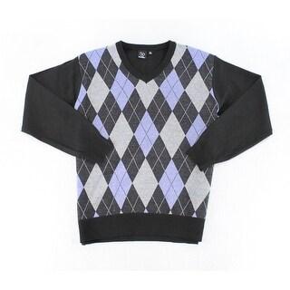 Burnside Blue Mens Size XL Diamond Pullover Knit V-Neck Sweater
