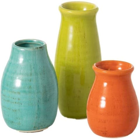 Ceramic Vase Set- 3 Small Vases