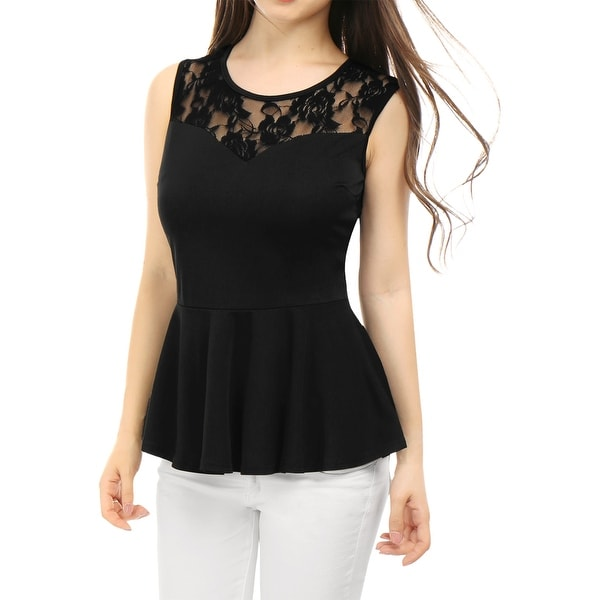 99b1878099 Unique Bargains Women  x27 s Sleeveless Peplum Top with Sheer Lace Panel  Black (