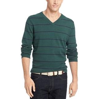 Izod Fine Gauge Striped V-Neck Sweater June Bug Green Cotton Small - S