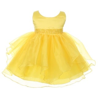 Chic Baby Girls Yellow Organza Embellished Waist Flower Girl Dress