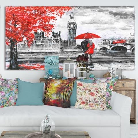 Designart 'Couples Walking in London' Extra Large Landscape Canvas Art Print - Multi-color