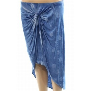 INC NEW Blue Twist-Front Print Women's Large L Asymmetrical Knit Skirt
