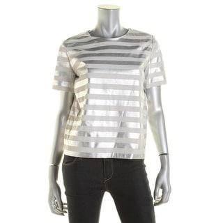 MaxMara Womens Maia Lambskin Leather Striped Blouse