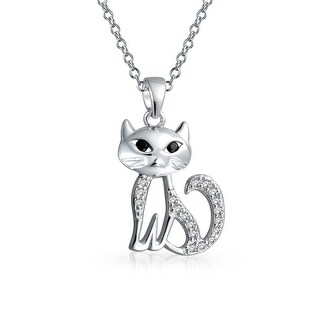 Bling Jewelry Pave CZ Sitting Kitty Cat Pendant Rhodium Plated Necklace 18 Inches