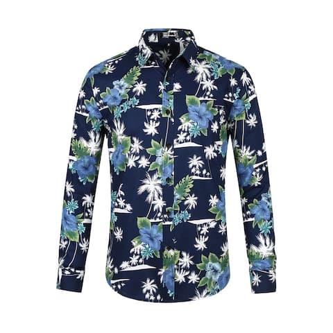 Men Button Down Long Sleeve Aloha Hawaiian Palm Flower Printed Shirt - Navy Blue