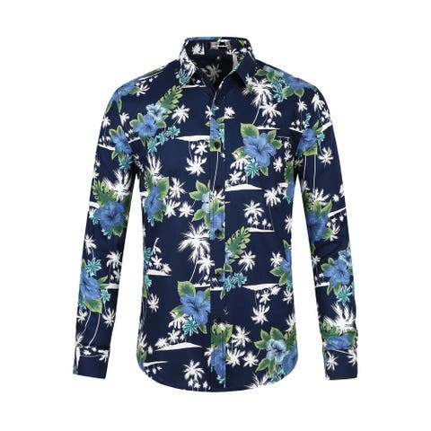 Men Floral Button Down Long Sleeve Aloha Hawaiian Palm Printed Shirt Navy Blue M - Navy Blue