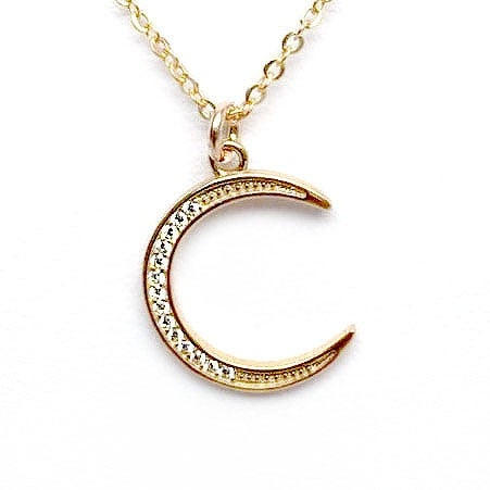 "Julieta Jewelry CZ Moon Gold Charm 16"" Necklace"
