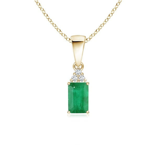 Angara Diamond and Emerald Necklace in Yellow Gold TFZt9E