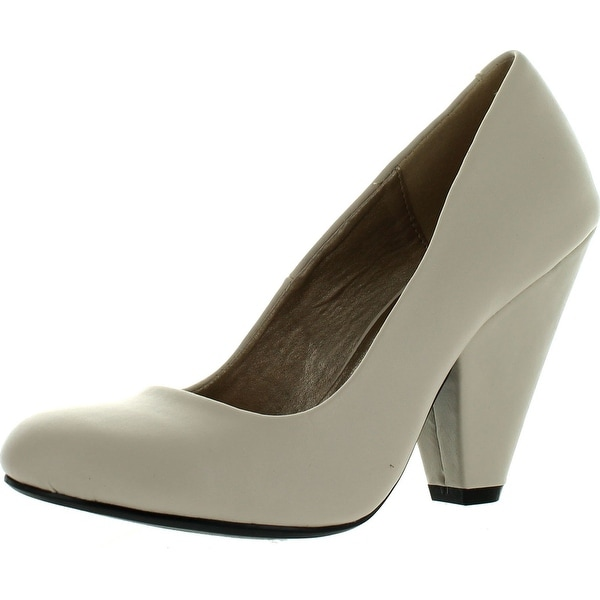 Qupid Rico-01 Womens Leatherette Designer Chunky Heel Round Toe Pumps